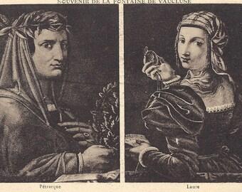 Vintage Postcard - Petrarque  et Laura - Souvenir De La Fontaine De Vaucluse