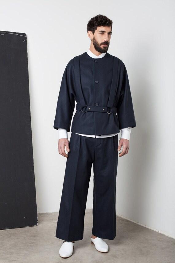 Mens jacket Mens wool jacket Mens blue jacket Mens short