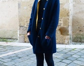 Elegant Navy Blue Cardigan with Golden Buttons