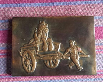 "Vintage Weedpatch Coppercraft Hammered Copper Plaque ""Guinness for Strength"" D106"