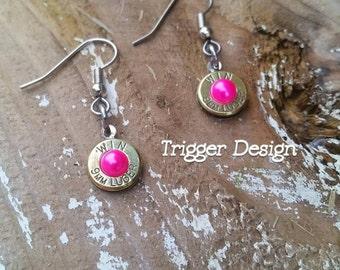 9mm Caliber Dangle Bullet  Casing Earrings- Hot Pink Pearl