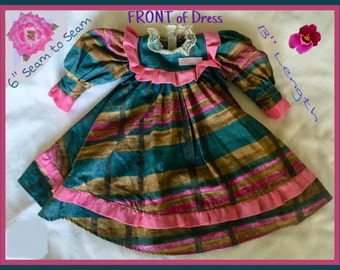 "Vintage 16-18"" VICTORIAN Dress & 10-12"" JAMAICAN Bright Colors Clean DOLL Clothes"