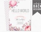 hello world baby shower invitation, floral baby shower invitation, watercolor, pink, purple, baby girl, baby shower, custom, printable