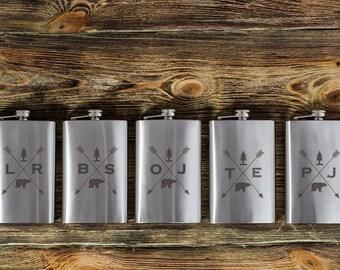 Set of 6 Custom flasks for groomsmen, groomsmen gifts, personalized groomsmen flasks, largr flask, arrows, Initials