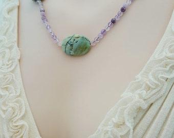Amethyst Necklace, Green Jasper Necklace, Genuine, Natural Gemstone Necklace, Beaded Necklace, Statement Necklace, Gemstone Beads, N4005