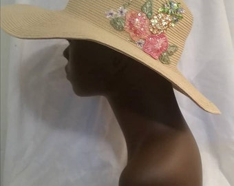 1980s Cappelli Wide Brim Straw Summer Hat with Sequined Flowers by Cappelli StrawWorld Inc//Summer Beach Boho Hat//Southern