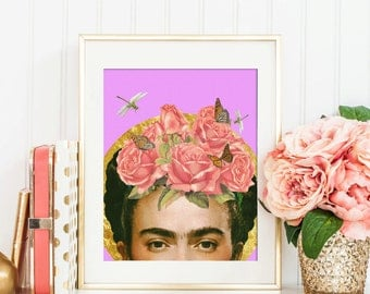 Frida Kahlo print - Flower collage art poster