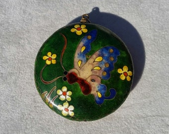 Puffy Round Cloisonné Butterfly Pendant
