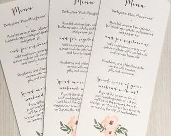 Wedding menu cards - rustic wedding menu cards - kraft wedding menu cards
