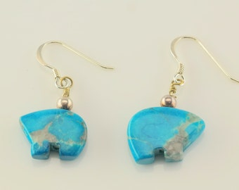Sterling Silver Blue Howlite Bear Earrings