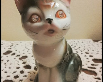 1950 Japan Porcelain Cat  with Rhinestone Jeweled Eyes and Pink Ears