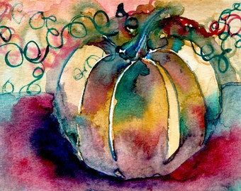 Pumpkin Watercolor Colorful Original Painting The Desert Moon Forest Trees Autumn Fall Halloween Squash