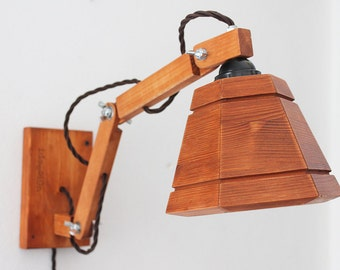 Handmade wall lamp in wood. Applique. Wooden lamp. Articulated lamp. Reading lamp.  Wall sconce lamp. Bedside lamp. #OOAK MOD. n.35