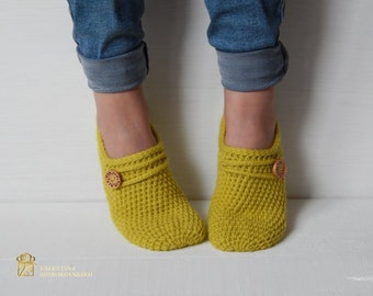 Crochet  Wool Slipper Woman Slippers  Socks /Crochet Slippers. Knitted slippers. Women shoes. Home shoes.