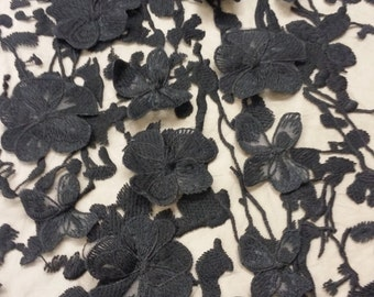 Black Lace fabric with 3D flowers, French Lace, Chantilly Lace, Bridal lace, Wedding Lace, Scalloped Floral lace, Lingerie Lace by the yard