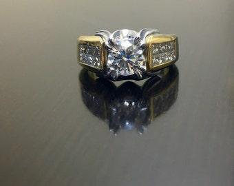 18K Yellow Gold Platinum Diamond Engagement Ring - Art Deco Platinum 18K Gold Diamond Wedding Ring - Two Tone Platinum Art Deco Diamond Ring
