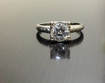 14K White Gold Art Deco Diamond Engagement Ring - Art Deco 14K Gold Diamond Wedding Ring - Hand Engraved Diamond Ring - 14K Solitaire Ring