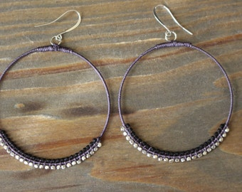 Hand Wrapped Large Hoop Earrings
