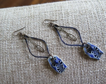 sapphire blue earrings, indigo earrings, cobalt earrings, blue earrings, long blue earrings, artisan earrings, unique earrings, long earring