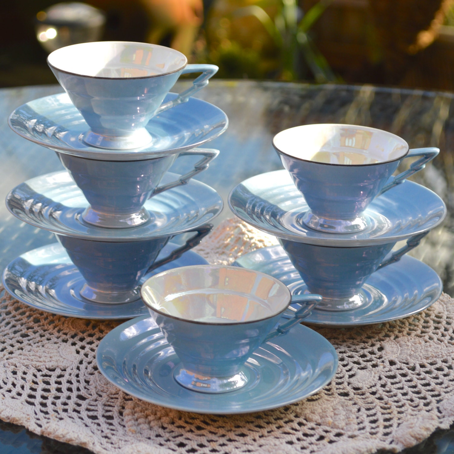 6 X Iconic Art Deco Coffee Cups And Saucers Bavaria Germany