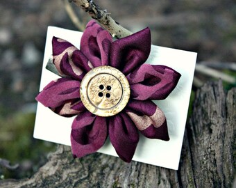Vibrant Gold and Purple Fabric Hair Flower