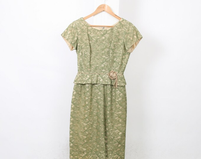Green LACE Vintage PEPLUM Dress 50s 60s Womens Au 10 Us 6 Polyester METAL Zip Wiggle Flower Floral Gold Satin Mad Men Wedding Bridal
