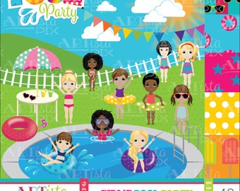 Girls Pool Party Clipart, Summer Clipart, Pool Party Clipart, Fun in the sun, Pool digital images, pool graphics