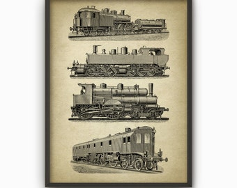 Steam Locomotives Print #1 - Classic Steam Train Poster - Steam Locomotive Book Plate Illustration - Railroad Wall Art - Railroad Gift Idea