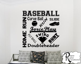 Baseball Wall Decal- Baseball Word Art 2 -Baseball Wall Decor -Teen Boy Room Decor-Baseball Decal- Baseball Decor-Baseball Vinyl Decal