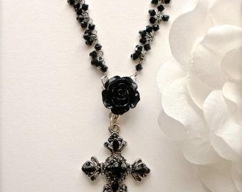 Black Rose Rhinestone Cross Necklace, Goth Jet Black Rhinestone Cross Necklace, Silver Black Rose Cross Pendant Necklace, Gothic Jewelry