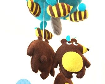 BEARS and BEES baby crib felt mobile