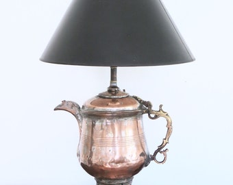 Boho Copper & Brass Teapot Table Lamp, Moroccan or Indian Style Lamp, Handmade Bohemian Chic