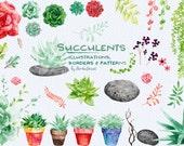 Watercolor Succulents Cliparts, Weddings Cactus Clip Art, Flower Bouquet, Stones and Pebbles Graphics for Personal and Commercial Use