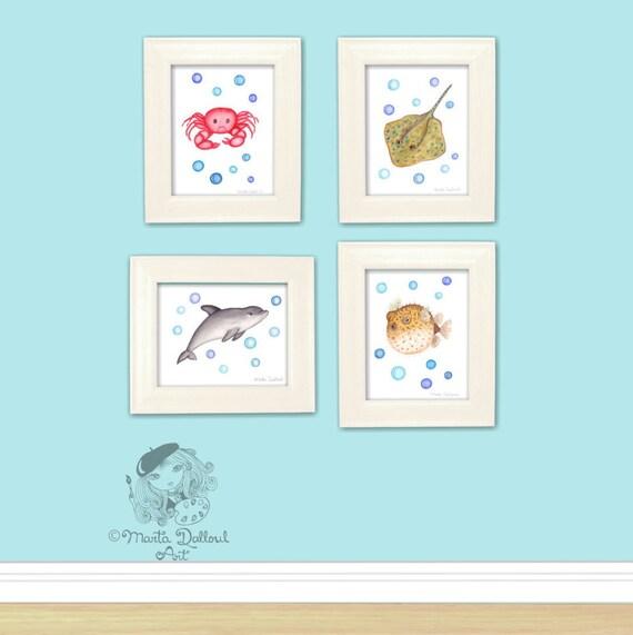 Ocean Wall Decor For Nursery : Under the sea nursery art decor ocean nautical print set