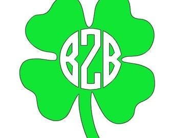 St. Patrick's Day Irish Four Leaf Clover Themed Monogrammed Decal Monogram Sticker
