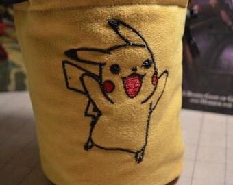Dice Bag custom Embroidery Suede Yellow Pikachu Pokemon