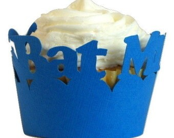 Blue Bat Mitzvah Cupcake Wrappers, Set of 12, Birthday, Blue Texture, Cupcake Decor, Handcrafted Party Decor, Party Supplies