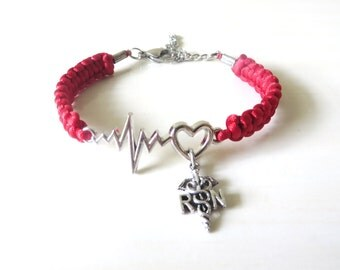 RN Nurse Medical Heartbeat Vital Sign Bracelet YOU Choose Your Cord Color and Optional Awareness Ribbon Charm