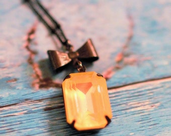 CHERISH AUTRE - Swarovski Ultra Citrine AB Octagon pendant necklace