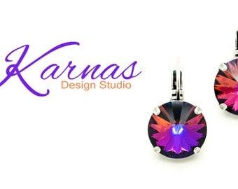 CRYSTAL VOLCANO 14mm Crystal Rivoli Drop Earrings Swarovski Elements *Rhodium or Antique Silver *Karnas Design Studio *Free Shipping