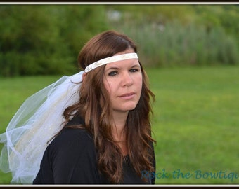 Bachelorette Veil, Bachelorette Party,  Gold Headband, Bride Headband, Perfect for Bachelorette Parties, Costumes, Bridal Showers, Fun
