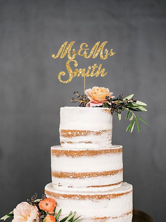 gold glitter wedding cake topper