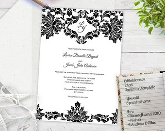 Wedding invitation template-DIY printable-Instant download wedding invites-black and white damask-elegant invite|FEI| T10