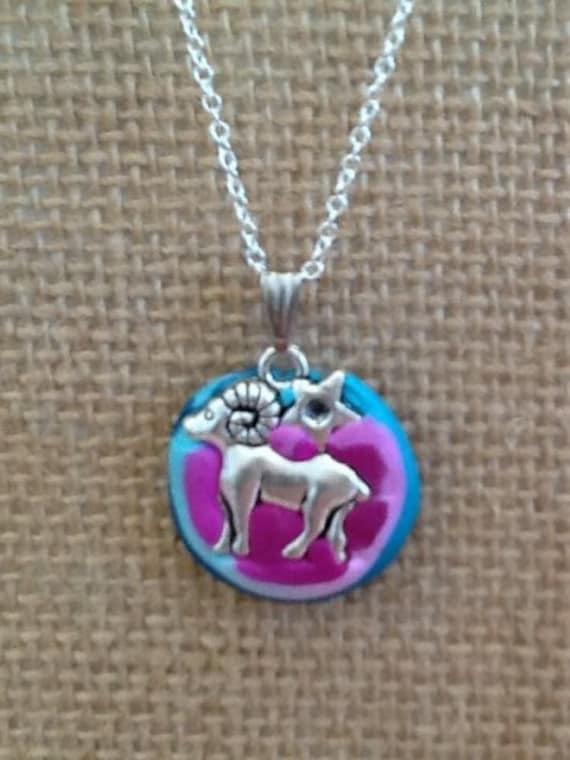 Handmade Clay and Silver Aries Horoscope Pendant