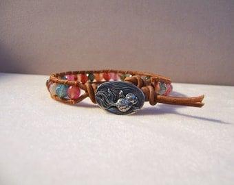 Pewter Koi Fish Beaded Leather Wrap Bracelet, Agate Gemstone Beads, Single Wrap Leather Bracelet, Koi Fish Bracelet, Koi Fish Jewelry