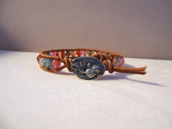 Pewter koi fish beaded leather wrap bracelet agate gemstone for Koi fish beads