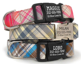 Personalized Plaid Dog Collar with Laser Engraved Buckle - ID Dog Collar - Custom Dog Collar