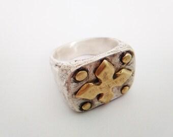 Crusader Ring - Cross Ring -  Medieval Ring - Knight's Ring -Biker Ring -  Sterling Silver .925 - Bronze