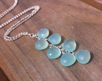 Chalcedony Cascade Necklace // Gemstone Wedding Jewelry // Bohemian Luxe