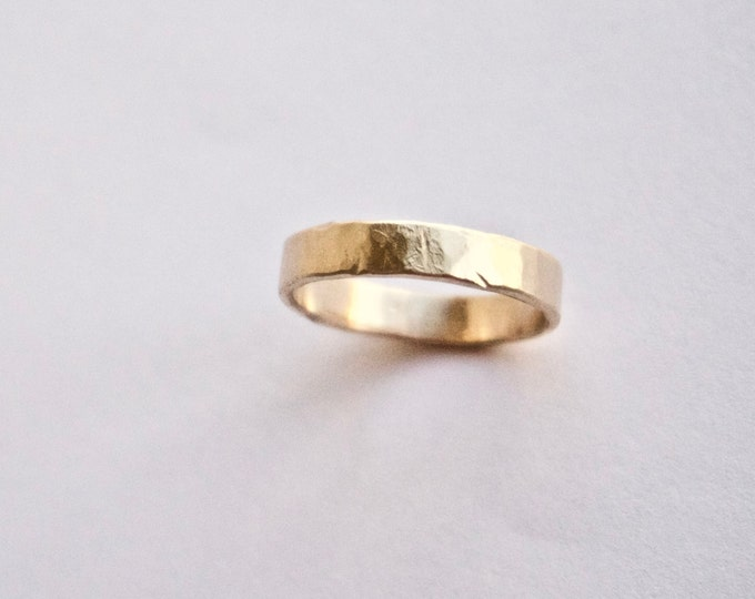Gold Hammered Ring - 18 Carat Yellow - Flat Hammer Textured